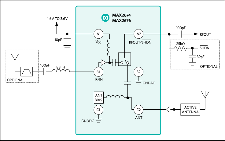 MAX2674, MAX2676: Typical Operating Circuit