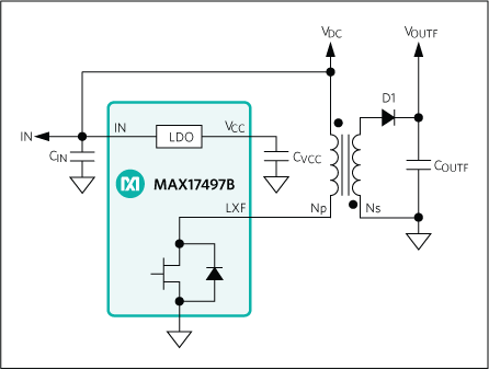 MAX17497A, MAX17497B: Typical Startup Circuit