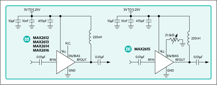 MAX2612, MAX2613, MAX2614, MAX2615, MAX2616: Typical Application Circuits