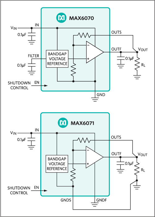 MAX6070, MAX6071: Typical Operating Circuits
