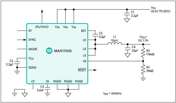 MAX17505: Typical Application Circuit