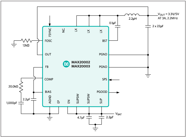 MAX20002,MAX20003:Typical Application Circuit/Block Diagram