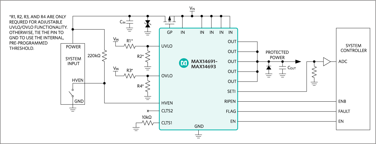 MAX14691, MAX14692, MAX14693: Typical Application Circuit