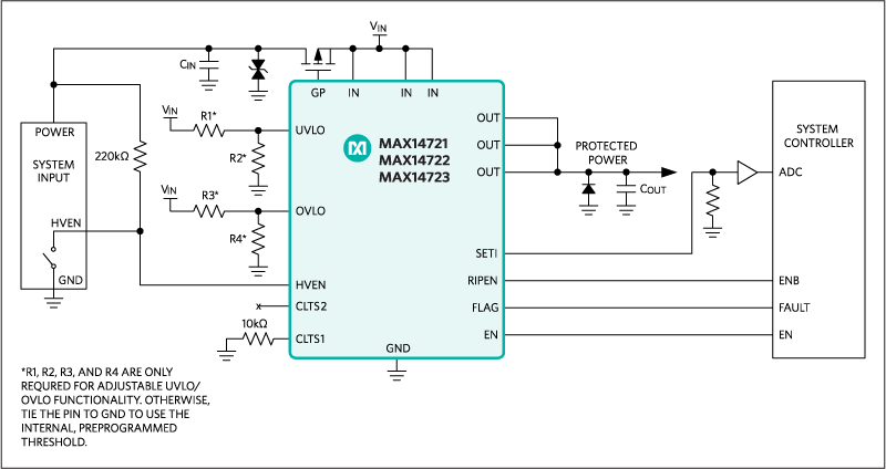 MAX14721, MAX14722, MAX14723: Typical Application Circuit