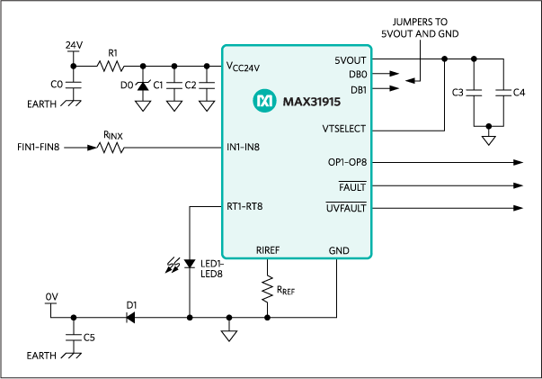 MAX31915: Typical Application Circuit