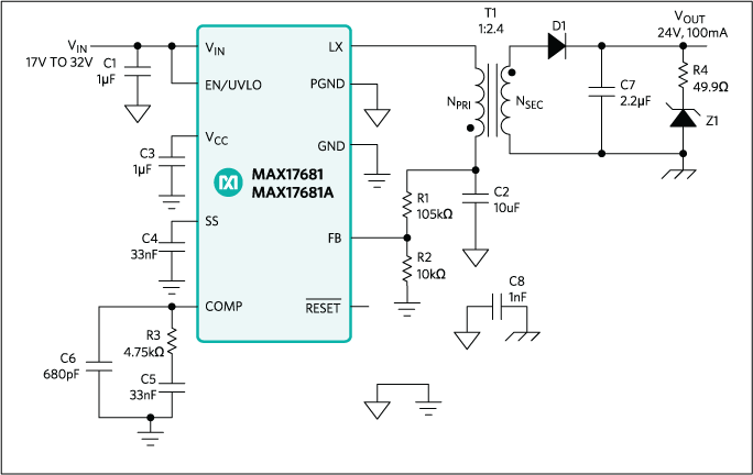 MAX17681: Application Circuit