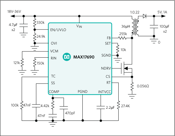 max17690 60v  no-opto isolated flyback controller