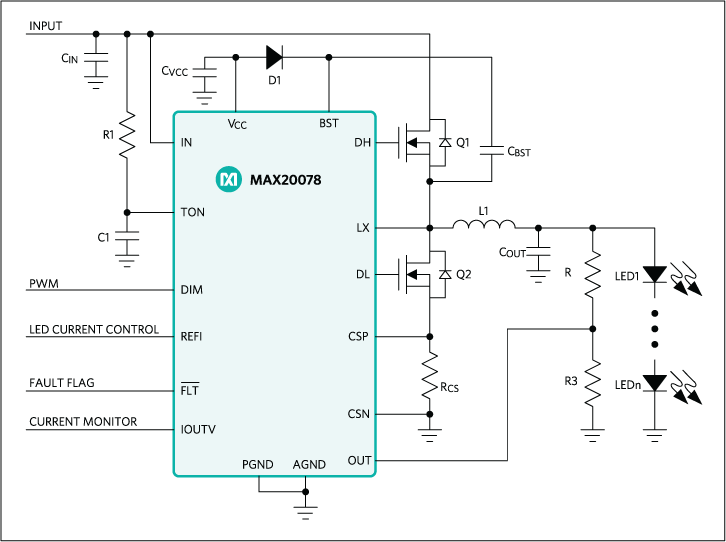MAX20078: Simplified Schematic