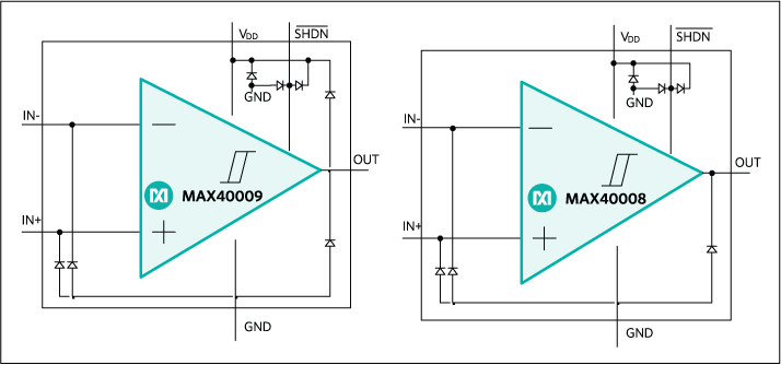 MAX40008, MAX40009: Simplified Block Diagram
