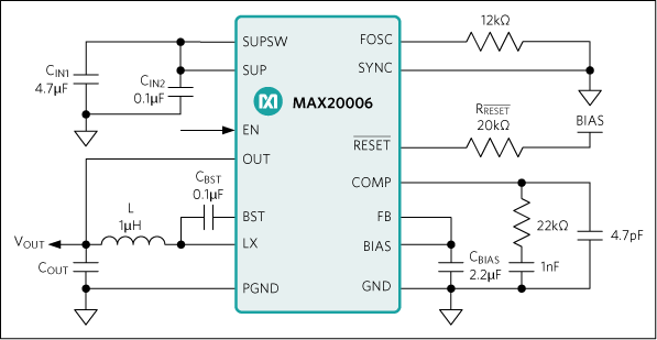 MAX20004, MAX20006, MAX20008: Typical Application Circuit