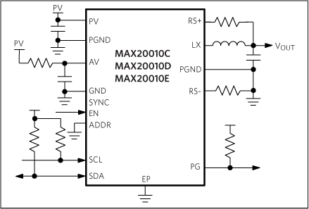 MAX20010C, MAX20010D, MAX20010E: Typical Application Circuit