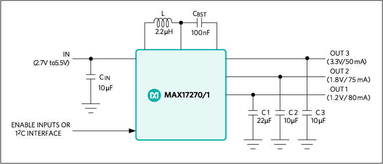 Typical operating circuit of the MAX17270