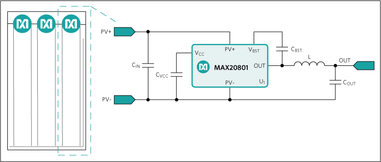 MAX20801: Cell-String Optimizer Embedded in 60-Cell PV Panel