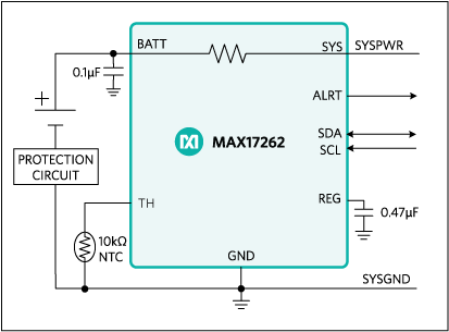 MAX17262: Simple Fuel-Gauge Circuit Diagram