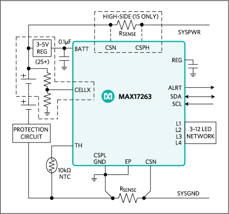 MAX17263: Simple Fuel-Gauge Circuit Diagram