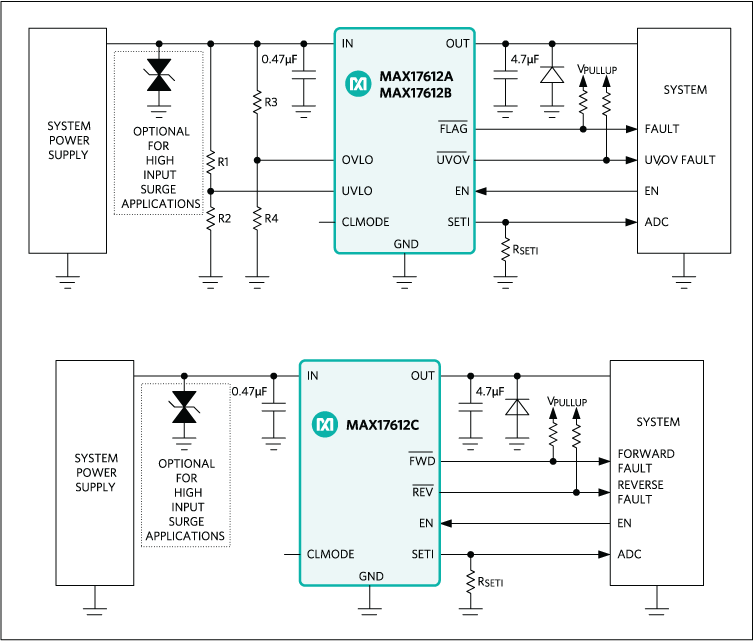 MAX17612A, MAX17612B, MAX17612C: Typical Operating Circuit